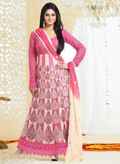 ba8e1096024 Semi Stitched Pink And Beige Georgette Anarkali Suit