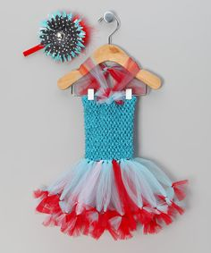 Take a look at this Turquoise & Red Tutu Dress & Headband - Infant by Always Serendipity on #zulily today!