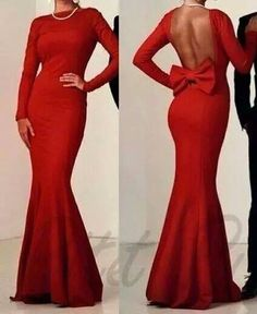 Love this long sleeved red maxi dress with the opened back and with a bow