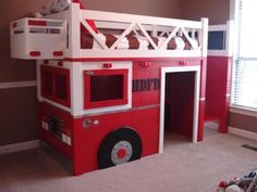 Firetruck bed based on Ana White's Playhouse Loft Bed With Stairs. Kid Beds, Bunk Beds, Loft Beds, Playhouse Loft Bed, Fire Truck Room, Diy Bett, Deco Kids, Bedding Inspiration, Toddler Rooms
