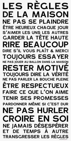 Affiche adhésive - Sticker géant - Poster autocollant Home Rules - manifeste de la Famille: The Words, Positive Attitude, Positive Vibes, House Rules, Learn French, Motivation, Decir No, Quotations, Affirmations