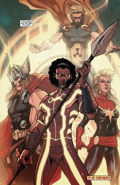Avengers Wolrd #5 interior art - Manifold, Thor, Captain Marvel, and Hyperion by Stefano Caselli