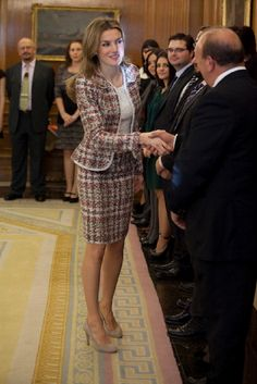 Princess Letizia of Spain attends an audience at Zarzuela Palace on 19 Nov 2012 in Madrid,