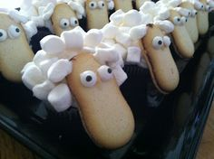 "treats for a lesson on ""The Lost Sheep?"" : ) These are hilarious looking and adorable all at the same time. Plus, who doesn't love Milano cookies?"