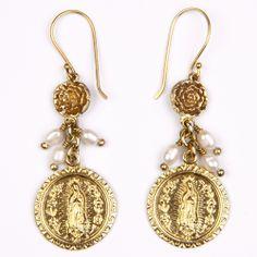 Juju art jewelry #brass #fashion #jade #pearl #stone #jewelry #womenfashion #fairtrade #creation #design #shell #motherofpearl #paua #abaloneshell #semiprecious #glass #earring collection Virgin of Guadalupe with fresh water pearls.