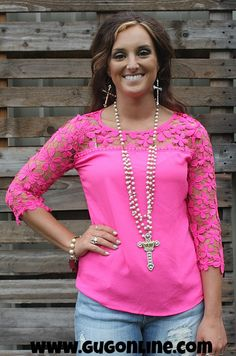 One Last Time Hot Pink Blouse with Floral Crochet Detailing $26.95 www.gugonline.com
