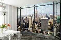 New York Window - Fotobehang - 232 x 315 cm - Multi