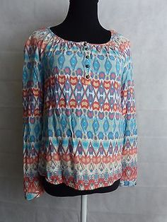 Red Camel Aztec Peasant Print Top Long Sleeve Coral Blue and White  Size XS