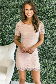 The lace on this dress is simply stunning! Lace Dress, White Dress, Light Pink Rose, Pink Lily, Gold Fashion, Online Boutiques, Give It To Me, Blush, Short Sleeve Dresses