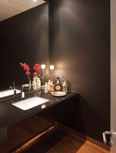 Mueble de baño: Con meson en granito natural negro ...
