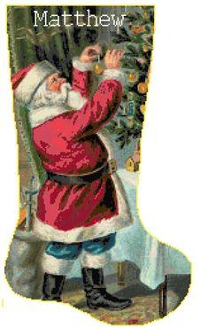 Cross Stitch Christmas Stocking Santa 6 with Name by SherrysHouse