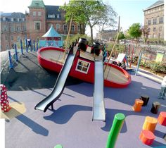 Rasmus Klump playground in Tivoli, Copenhagen. By Monstrum. Playground Design, Outdoor Playground, Children Playground, Play Spaces, Kid Spaces, Cool Playgrounds, Parc A Theme, Commercial Playground Equipment, Kids Play Area