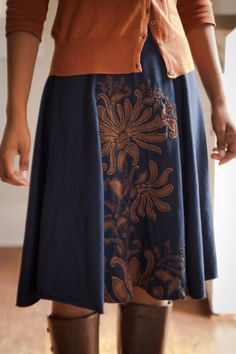Pleasant View Schoolhouse: Alabama Chanin: A Navy and Bronze Magdalena Dress for Bella