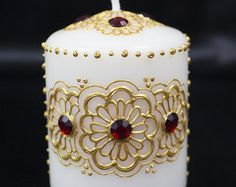Henna Candle Gold and Red by DesignsbyJyotiShop on Etsy