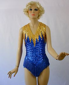 Majorette Uniform Blue & Gold Sequin