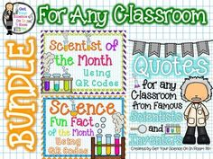 Looking for great science resources to add to your classroom...this is the bundle for you.Files included in the Bundle:~Scientist of the Month using QR Codes~~Science Fun Fact of the Month using QR codes~~Quotes for ANY Classroom from Famous Scientists & Inventors ~ Set of 10 Posters~Scientist of the Month:This is a great resource for any classroom, but especially science classrooms.