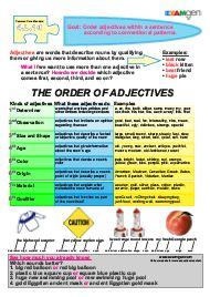 Free worksheet on ordering adjectives - Common Core Standard 4.L1.d