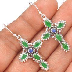 Cross - Emerald & Sapphire 925 Sterling Silver Earrings Jewelry SE134422 | eBay