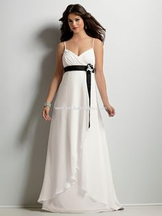 Jordan 372.   Shirred cross over empire bodice in Chiffon with Satin band and bow. A-line skirt with wrap front overskirt. Available in short, knee and floor lengths.    Available in any Chiffon color in combination with any Crytsal Satin color.