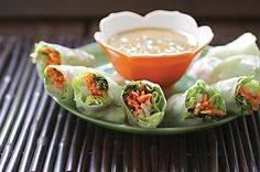 Asian Spring Rolls with Spicy Peanut Dipping Sauce – Robin Robertson