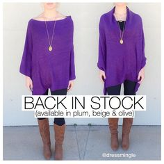 BACK IN STOCK! Everyone's favorite poncho on the floor NOW in plum, beige & olive! One size fits all call to purchase. 225.627.2165. #dressmingle #poncho #ootd #lotd #musthave #onesize