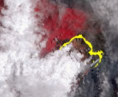 NASA's Terra spacecraft shows Hawaii's Kilauea volcano continues to create new land as flows from fissure one of the most active to break ground since the eruption began in early May, reach the ocean. Science And Technology Articles, Bank Of Japan, Hawaii Volcano, World Watch, Lava Flow, The Outfield, Big Island Hawaii, Earth From Space, Destruction