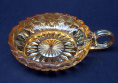 "Peach Glass Nappy Dish Vintage, Peach Iridescent Glass Dish, 5"" in Diameter"