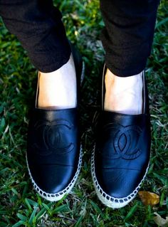Chanel Classic Black Leather Espadrilles