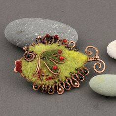 Green Fish Brooch- wool and copper by IrenAdler