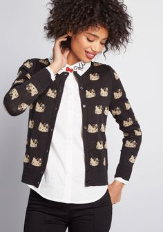 de314a162d3 ModCloth for Hello Kitty Kawaii Icon Cardigan in Black and Gold