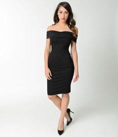 Vintage Style Black Off Shoulder Stretch Knit Wiggle Dress
