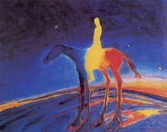 Frans Widerberg. Norsk maler og grafiker. Fantastisk bruk av spektralfarger og former i et uendelig rom og tid.