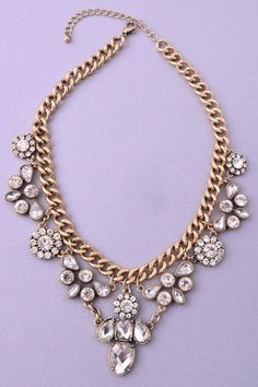 Retro Floral Statement Necklace - Brass/Crystal