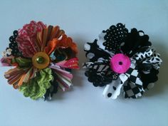 Fabric brooches.