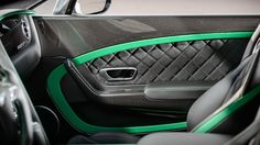 2015 Bentley Continental GT3-R First Drive black and green interior door panel awesome neon lime