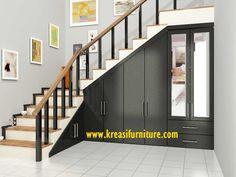 almari bawah tangga minimalis modern sengaja di buat khusus untuk menjadikan bagian bawah tangga rumah anda lebih fungsional dan indah untuk di pandang