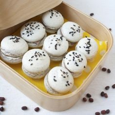 Say 'Open Sesame' with these delightful black sesame macarons filled with Azuki red bean mascarpone!