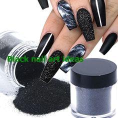 20 SIMPLE BLACK NAIL ART DESIGN IDEAS  #nailarts Black White Nails, Black Nail Art, White Glitter, Black And White, Black Nail Designs, Nail Art Designs, Fashion Corner, Nail Art Hacks, Nail Art Galleries