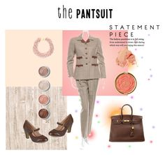 """""""The Pantsuit"""" by mstrendy01 ❤ liked on Polyvore featuring Oscar de la Renta, Kenneth Jay Lane, Hermès, Journee Collection, Milani, Terre Mère, Bobbi Brown Cosmetics and thepantsuit"""