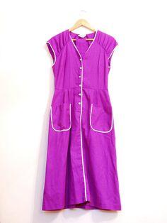 Simple Purple Vintage Dress Short Sleeve Dress W/ by aveing