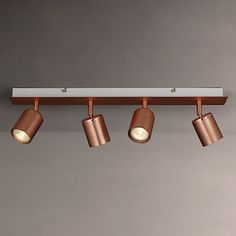Buy John Lewis Mode LED Spotlight Bar, 4 Light, Copper from our Ceiling Lighting range at John Lewis & Partners. Track Lighting Bedroom, Modern Track Lighting, Track Lighting Fixtures, Modern Light Fixtures, Light Fittings, Bathroom Lighting, Brass Bathroom, John Lewis, Bronze Bedroom