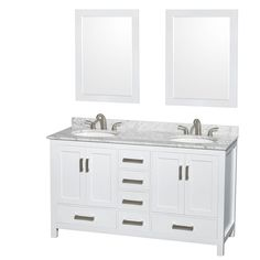 Wyndham Collection Sheffield White 60-inch Double Vanity - Overstock™ Shopping - Great Deals on Wyndham Collection Bathroom Vanities