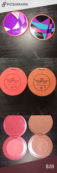 Tarte holiday Blushes I bought the new tarte holiday blush kit and only wanted two of the blushes to keep. So selling these ones. Brand new never used. They are 1.5g/0.05oz of product. Which I believe is a mini size, not a full size. One is more coral, the other is more nude. Amazonian clay formula. 12 hr wear, NO PACKAGING SORRY. Bundle more listings to save 10% tarte Makeup Blush