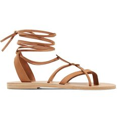 Valia Gabriel Chloe leather sandals (10.930 RUB) ❤ liked on Polyvore featuring shoes, sandals, brown, brown leather shoes, ankle wrap sandals, leather sandals, beach shoes and beach sandals