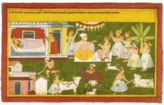 An illustration to the Mahabharata: Birth of Krishna, depicting Nanda and gopis in celebration and gifts being bestowed to the Brahmins, Mewar, circa 1710