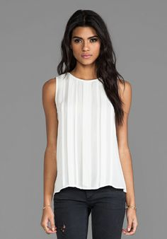 JOIE Orah Matte Silk Tank in Porcelain - Date Night