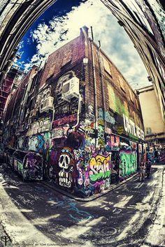 Fisheye: Melbourne Street Art http://500px.com/photo/53328190 ©Tom Cunningham   www.facebook.com/playingwiththecamera www.playingwiththecamera.com www.photographybytomcunningham.com