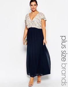 Lovedrobe Plunge Neck Maxi Dress With Embellishment