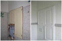 Ristrutturazione di un armadietto in un bagno PRIMA muro rovinato e parti a vista DOPO armadio bianco e muro rifatto in linea con il resto dell'ambiente