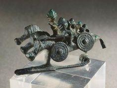 Bronze fibula depicting horsemen. Artefact from the Benvenuti Tomb in Este (Veneto). Etruscan civilization, 7th Century BC.